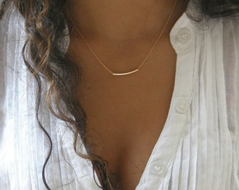 The Golden Bar -gold tube necklace . gold balance bar necklace. simple gold necklace . wedding gift. bridesmaid gift. bachelorett. By Simag
