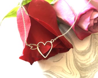Mother and Baby -- New Mother Push Gift -Beautiful and Simple --- Double Hearts Streling Silver -- tiny hearts connected necklace -  SIMAG