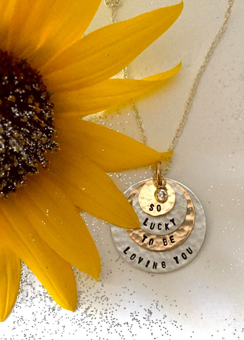 Personalized Your Charm As Seen At THE DENVER POST and Channel 9 News Two Tone Necklace 4 discs -Simag