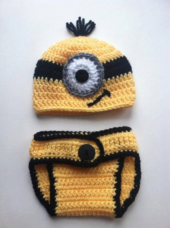 Despicable Me Minion Baby Hat   Diaper Cover 3 to 6 months  7f40af4c65e5