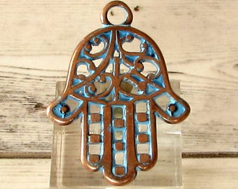 Hamsa Hand Pendant, Antique Copper & Blue Patina, AC206