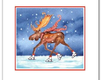 skating moose Christmas cards.  Boxed card set.moose christmas cards-  Woodland christmas. holiday moose. funny moose christmas cards