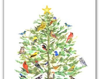 Song Bird Christmas cards- winter solstice bird cards- holiday bird tree-  bird lovers gift-  Christmas birds- holiday bird card