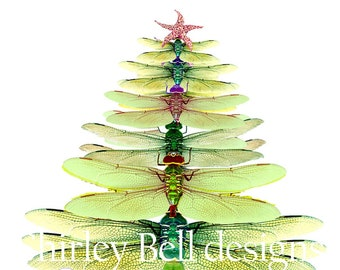 Dragonfly Tree cards-  Winter solstice card- Christmas tree-  box holiday card set- woodland christmas- dragonfly Christmas card