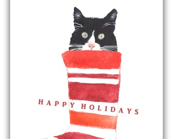 Cat in stocking Christmas -black and white cat- tuxedo cat Christmas cards- funny Christmas cards. boxed set, boxed holiday