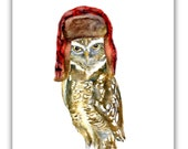 owl Christmas cards- trapper hat- woodland cards-  owl christmas cards-  Birders Christmas cards- Burrowing owl watercolor