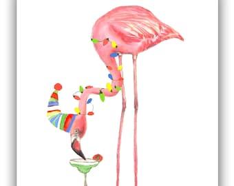 Flamingo Christmas cards, Cocktail card, Margarita, Tropical Christmas, pink flamingo ,funny Christmas cards. holiday card set.