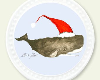 sperm whale Christmas ornament- holiday gift- nautical christmas decoration- whale ornament- ornament christmas personalized