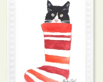 black and white cat in stocking ornament- cat ornament- cat decoration-  cat lovers christmas- cat in christmas stocking- tuxedo cat gift