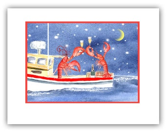 celebrating lobsters christmas cards set of 10 christmas cards boxed set nautical christmas lobster christmas coastal holiday cards - Nautical Christmas Cards