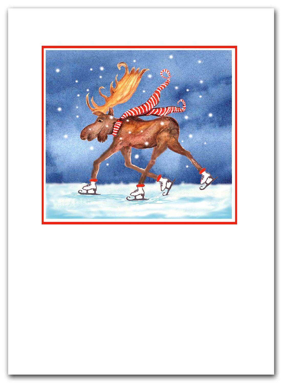 skating moose Christmas cards. Set of 10. Boxed set.. greeted | Etsy