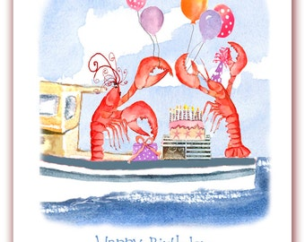 Celebrating lobsters birthday card,  lobster birthday card, watercolor lobster,  nautical birthday-  Children's birthday.  funny cards.