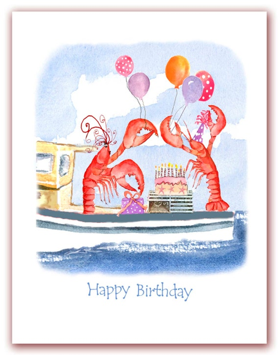 Celebrating Lobsters Birthday Card Red Lobster Watercolor