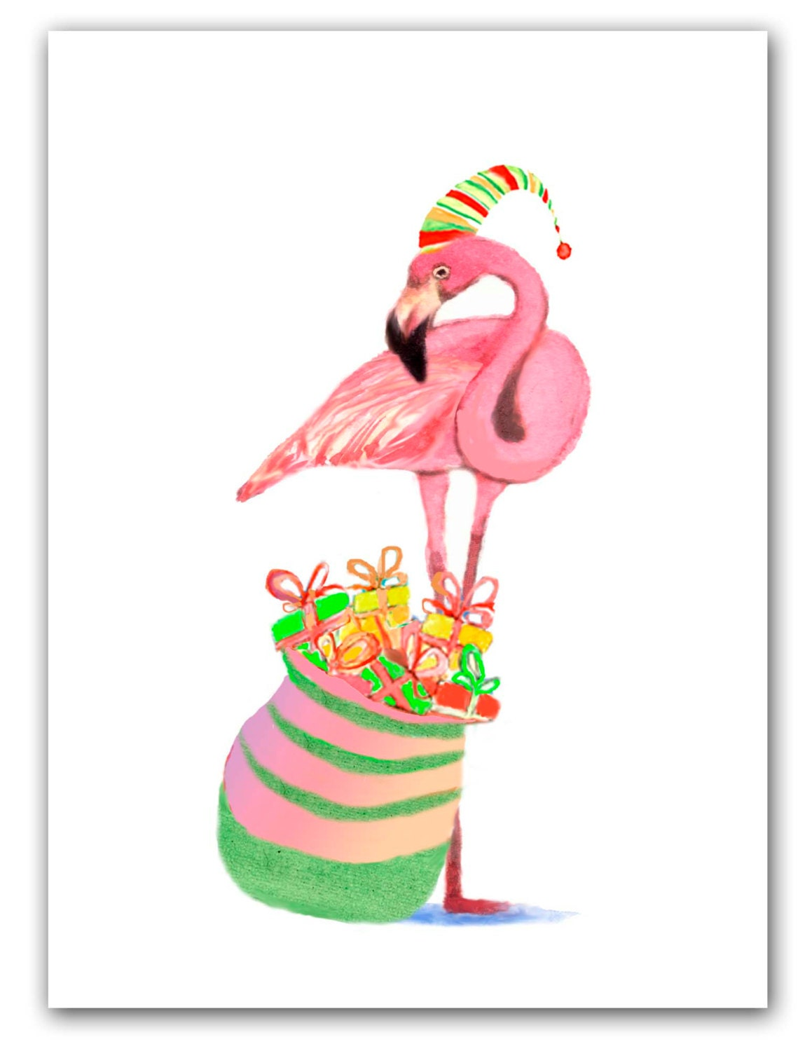 Flamingo Christmas cards Tropical Christmas 10 per greeted | Etsy