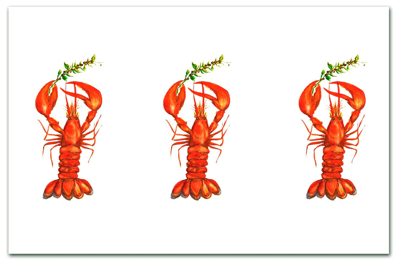 3 Lobsters holding holly Christmas. red .lobster holiday | Etsy