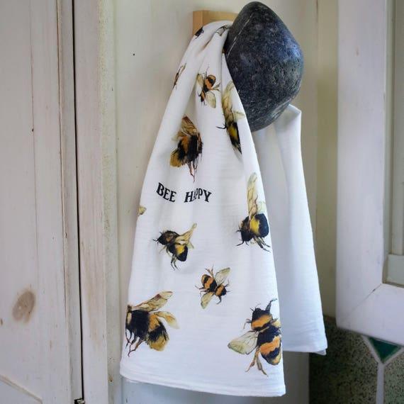 bee flour sack tea towel bee kitchen decor bee lovers gift | Etsy