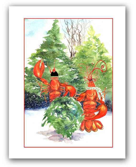 Lobster Christmas cards set of 10 boxed holiday cards | Etsy
