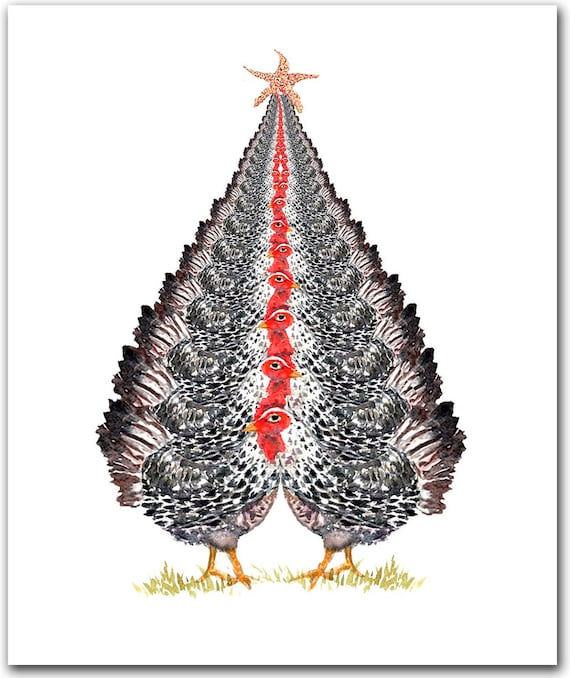 Chicken Tree Christmas cards- black and white chicken watercolor-  chicken art- chicken lovers gift- chicken christmas - personalized cards