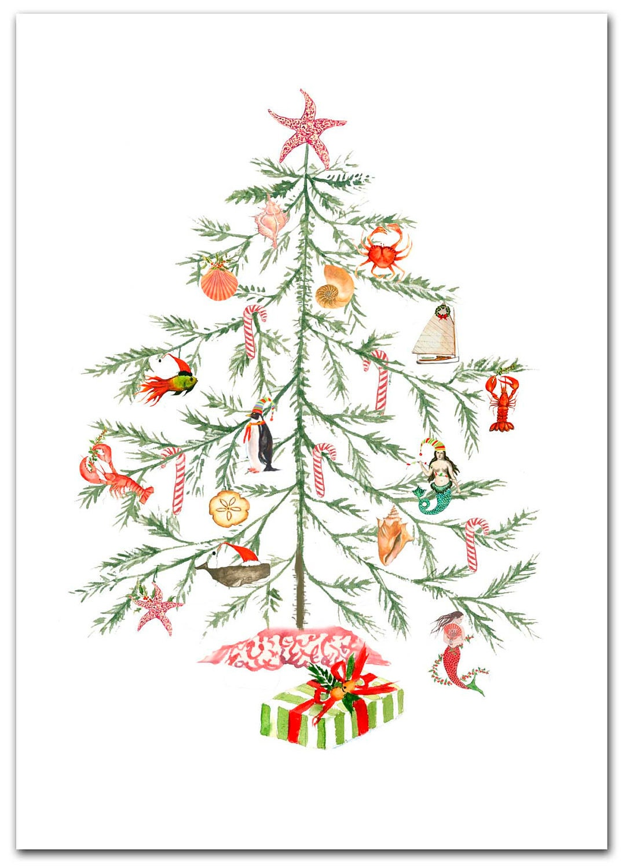 Christmas Nautical Tree cards. Original artwork. 10 per boxed | Etsy
