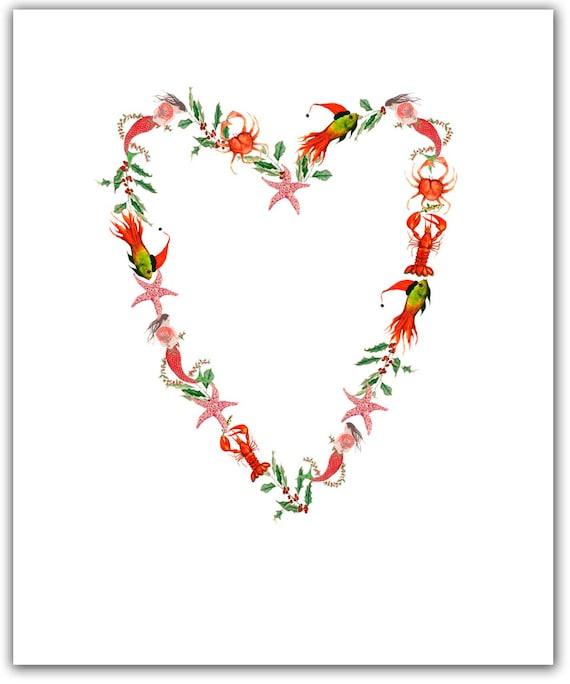 Nautical heart Christmas cards. unique Christmas. heart | Etsy