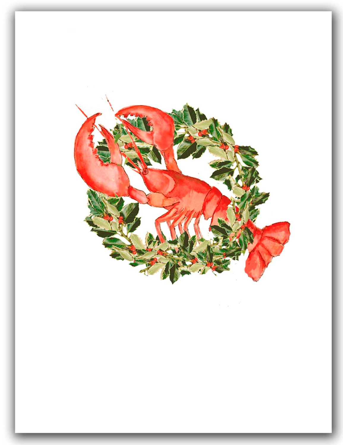 Lobster in wreath Christmas cards. set of 10. boxed set. | Etsy