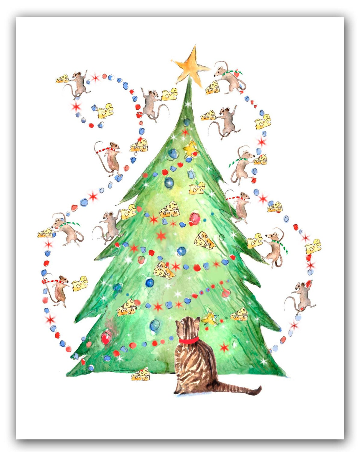 Cat with mice tree Christmas cards. 10 cat holiday cards | Etsy