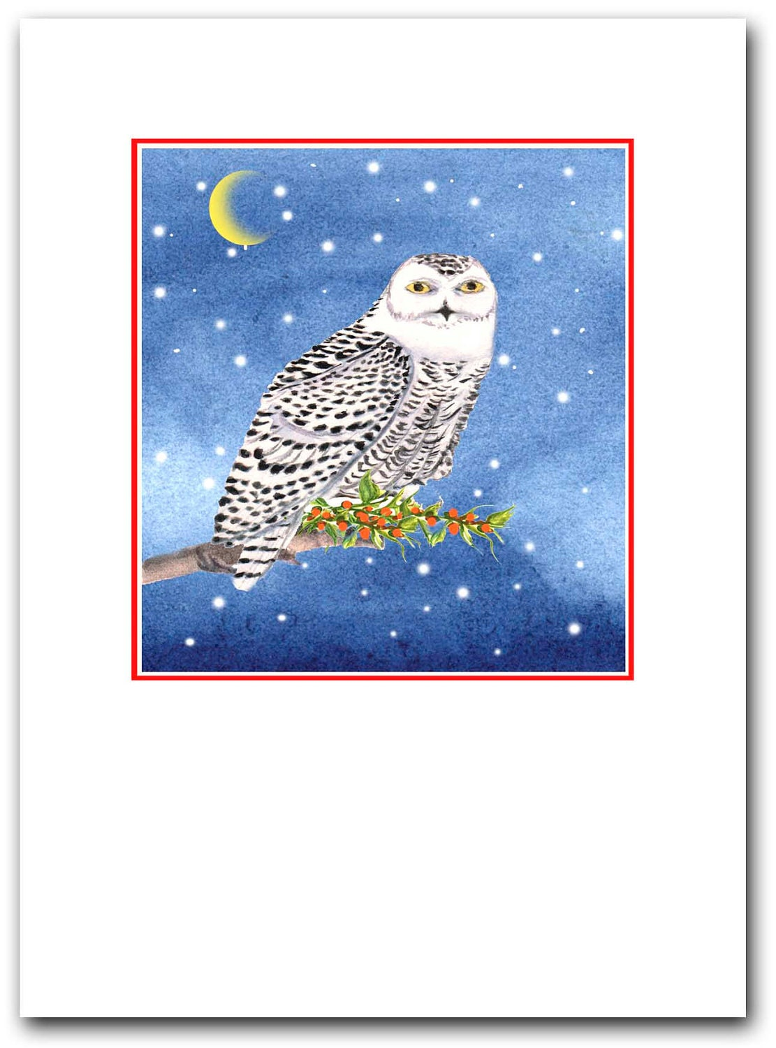 Snowy owl Christmas cards. 10 per boxed set.woodland cards | Etsy