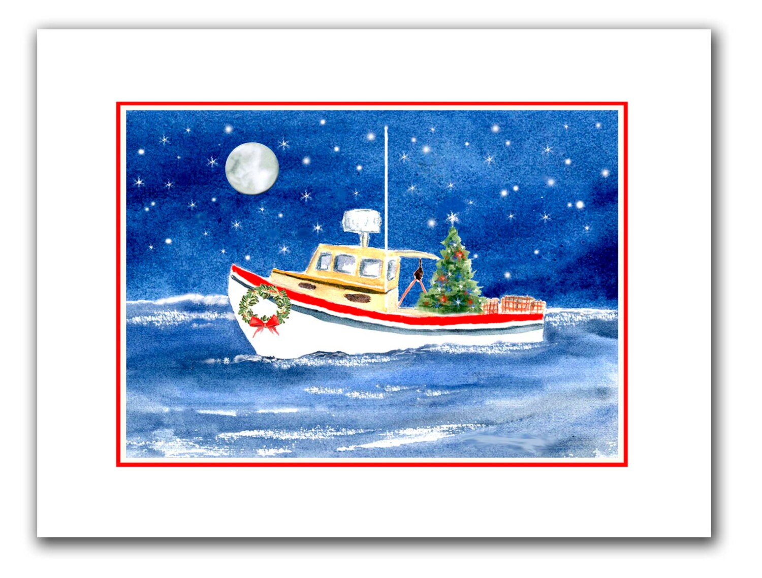Lobster boat Christmas cards. set of 10.holiday card set. | Etsy