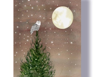 Snowy owl Christmas cards. watercolor Christmas cards- woodland christmas -  owl moon cards, Winter Solstice cards- Birders Christmas cards.