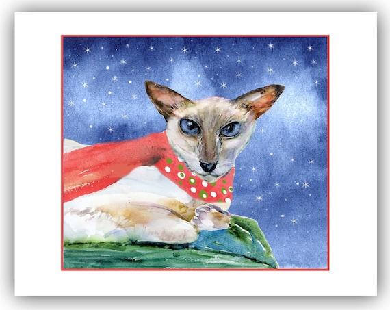Siamese cat christmas cards - white siamese holiday cards-  meezer lovers - cat christmas cards- siamese lovers gift- boxed christmas cards