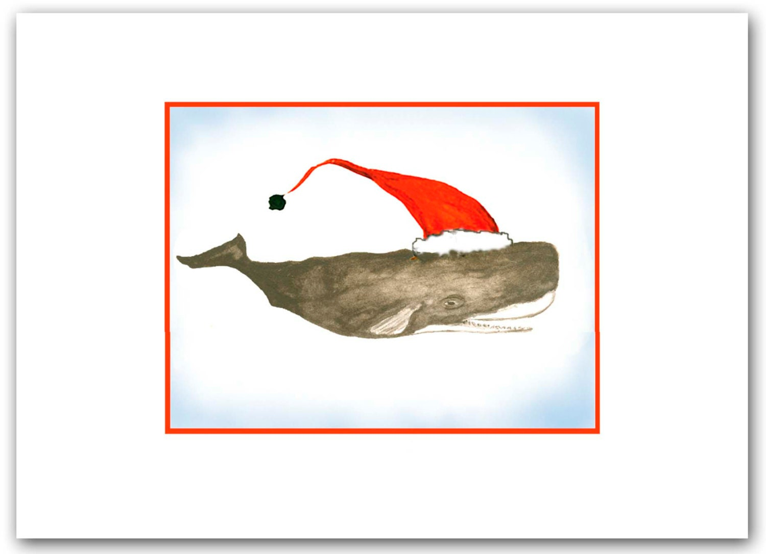 Sperm whale Christmas cards. Whale art. whale cards. set of   Etsy
