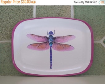 ON SALE violet dragonfly melamine platter. Watercolor dragonfly painting , dragonfly tray,  beach house art, dragonfly gift, hostess gift