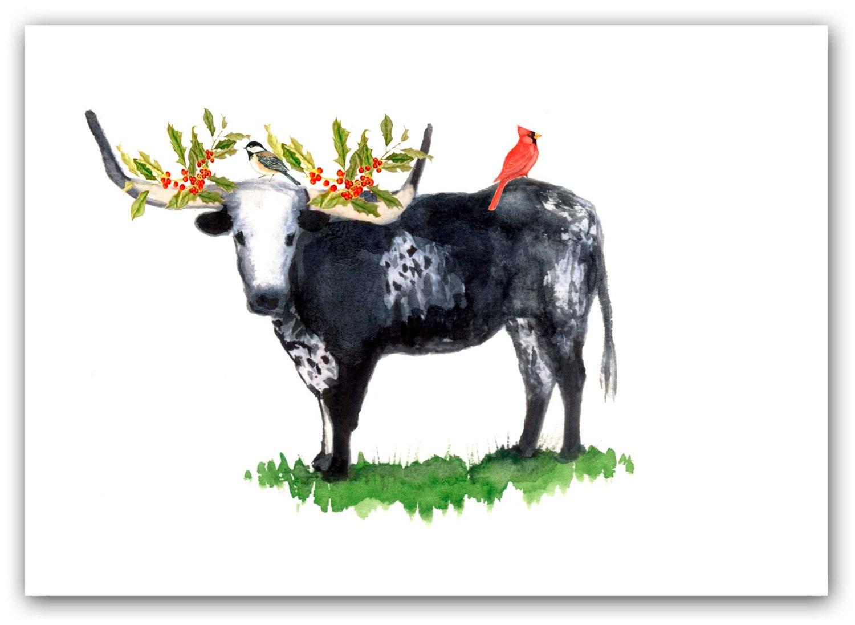 Long horned steer Christmas cards texas Christmas card Set | Etsy