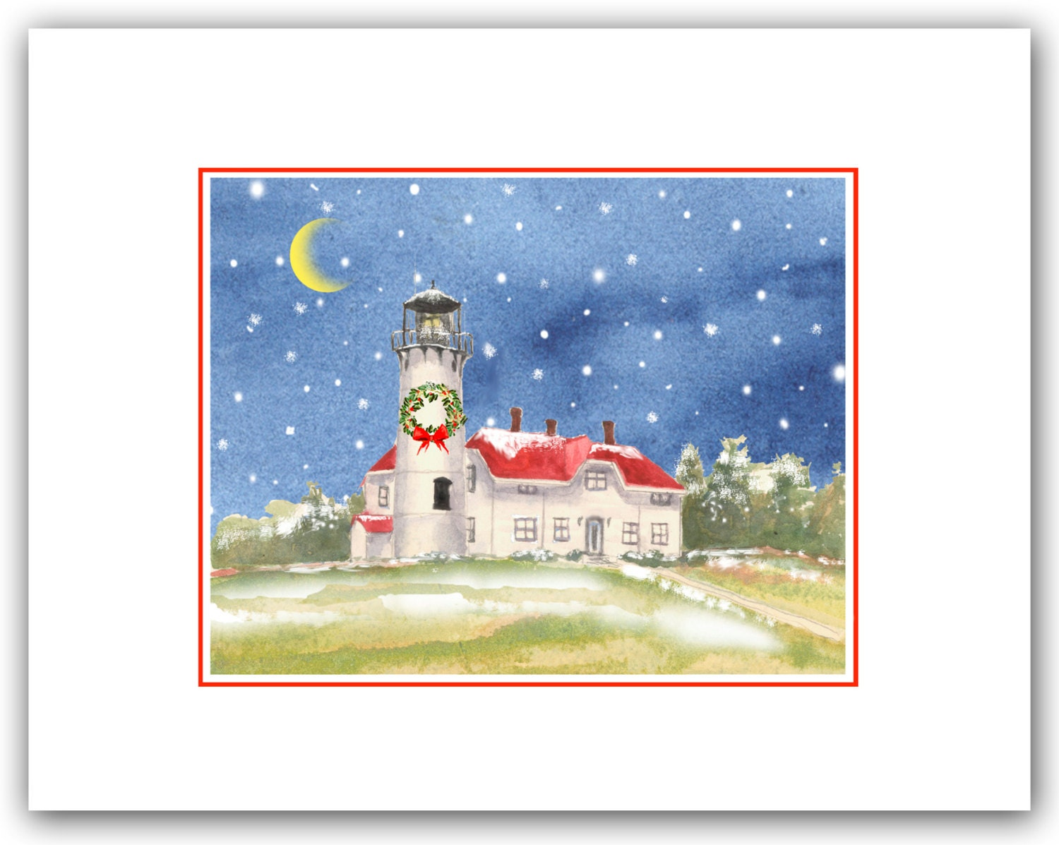 Chatham Lighthouse Cape Cod MA Christmas cards. Winter | Etsy