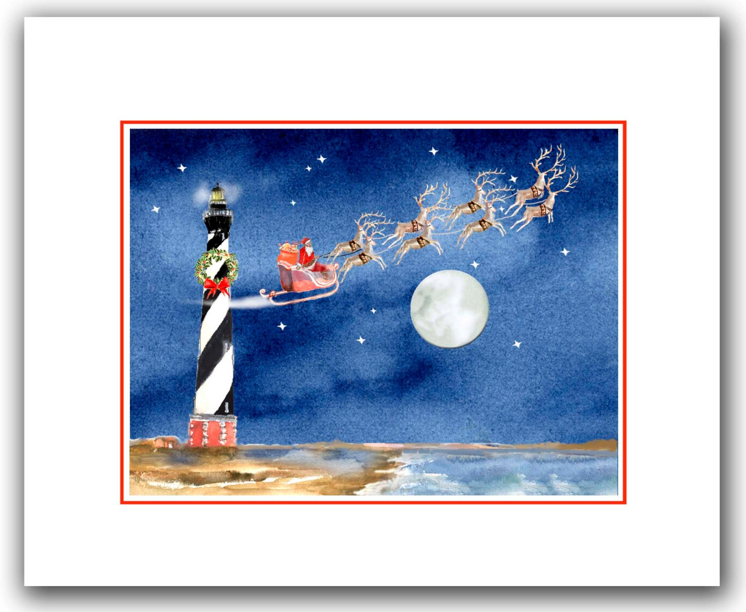 10 Cape Hatteras holiday Lighthouse Christmas cards. santa in | Etsy