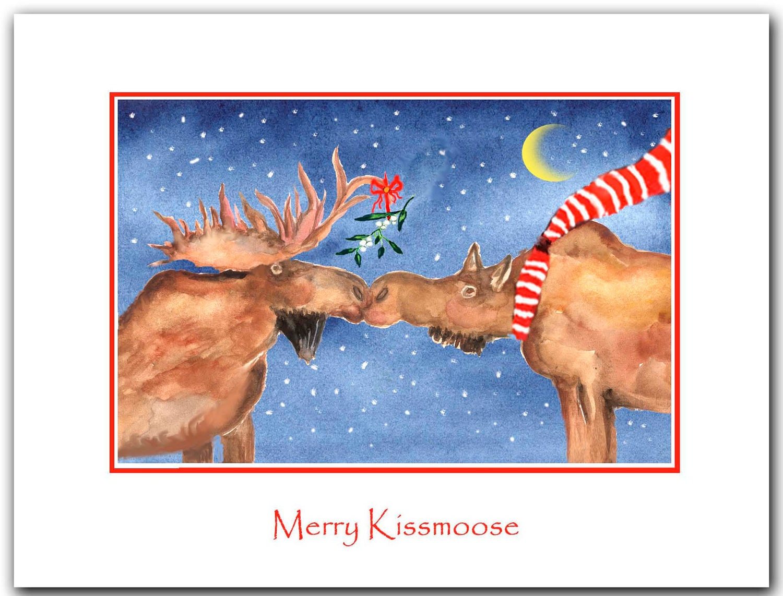 moose Christmas cards moose kissing Set of 10. Original | Etsy