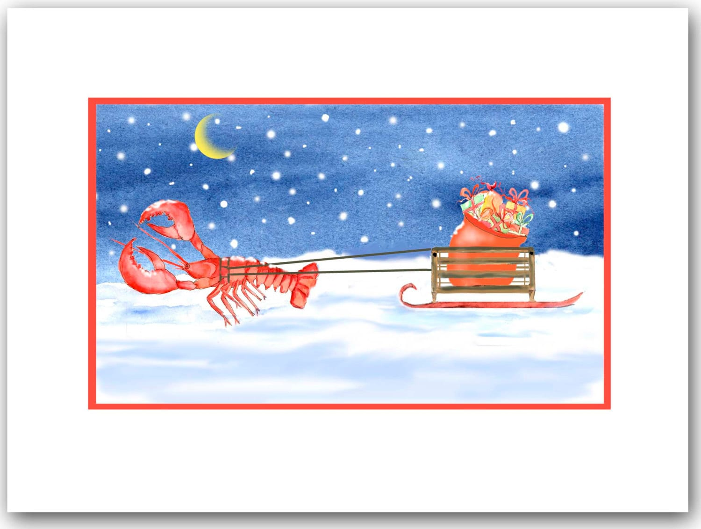 Lobster Christmas cards. set of 10. lobster pulling sled   Etsy