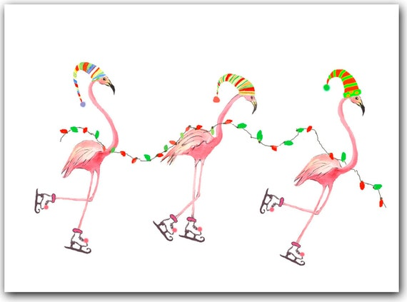 Flamingo Christmas Cards.Flamingo Christmas Cards Tropical Christmas Cards 10 Greeted Boxed Set Funny Christmas Cards Holiday Flamingo Cards