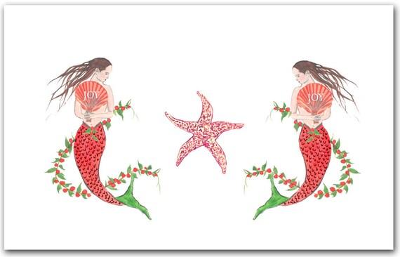 Mermaid Christmas cards. 10 per boxed set. nautical Christmas | Etsy