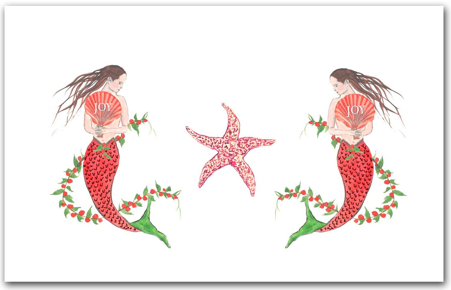 Mermaid Christmas cards. 10 per boxed set. nautical Christmas | Etsy