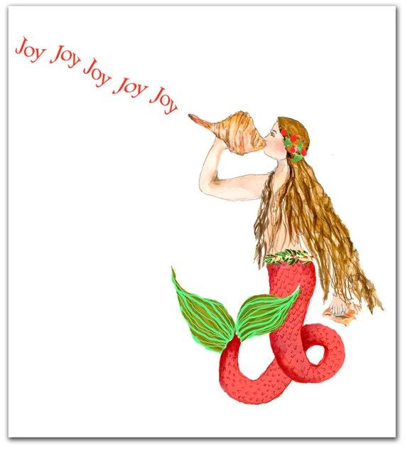 Mermaid Christmas cards. nautical Christmas cards. set of 10. | Etsy