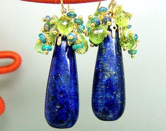 Lapis Lazuli Peridot Black Opal Gemstone Briolette Chandelier Earrings Vermeil
