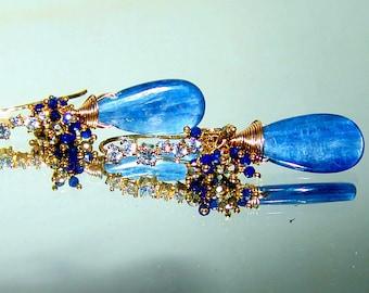 Kyanite Lapis Lazuli Pyrite Briolette Gemstone Earrings in Sterling Silver Vermeil