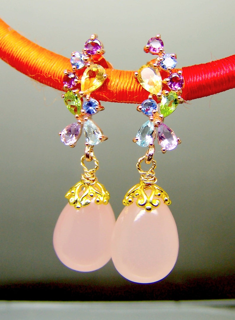 Multi Gemstones Pink Chalcedony Briolette Chandelier Earrings Vermeil Sterling Silver