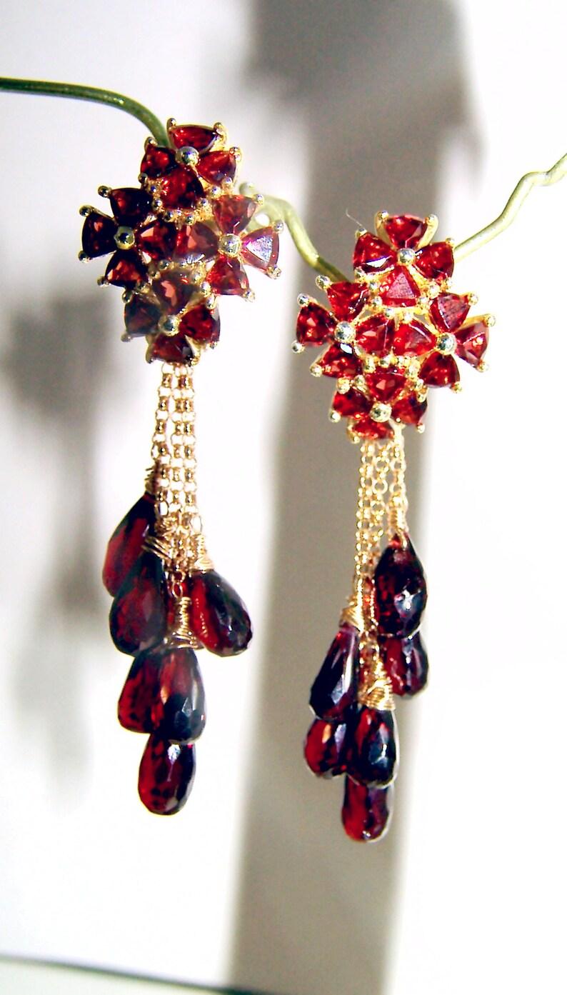 Garnet Gemstone Briolette Chandelier Earrings