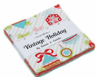 SALE It's here! 5 inch charm pack VINTAGE HOLIDAY Moda Fabric by Bonnie & Camille 55160PP