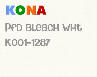 1 yard Kona PFD Bleach White Cotton solid fabric, Robert Kaufman