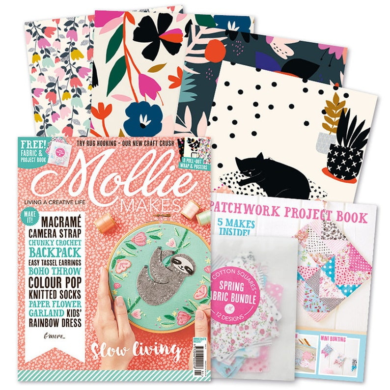 SALE Mollie Makes magazine Issue 91  fabric sloth  Living & image 0