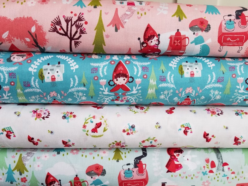 4 Fat Quarter Set Little Red in the Woods Pink Teal Mint image 0