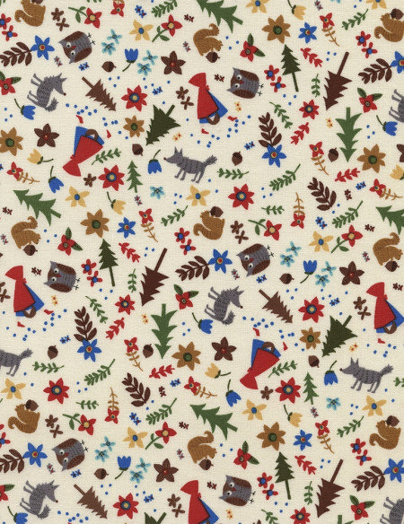 SALE 1 yard Red Riding Hood Tossed Cream Fabric by Timeless image 0